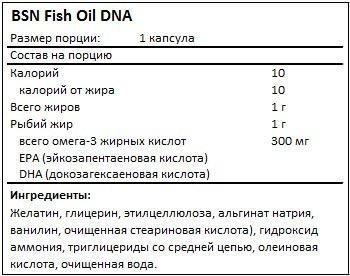 Состав Fish Oil DNA от BSN